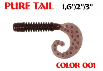 "силиконовая приманка Pure tail 3""/75mm  цвет 001-Dark Blood  запах Fish  3.71g  (уп.-8шт.)"