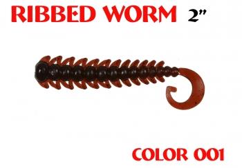 "силиконовая приманка Ribbed Worm 3""/75mm  цвет 001-Dark Blood  запах Fish  1.30g  (уп.-8шт.)"