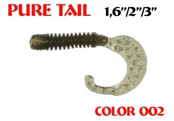 "силиконовая приманка Pure tail 3""/75mm  цвет 002-N.Bright  запах Fish  3.71g  (уп.-8шт.)"