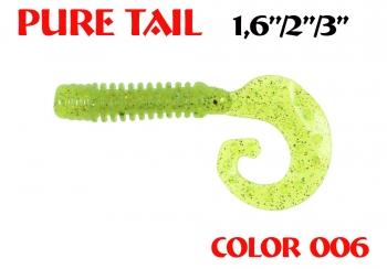 "силиконовая приманка Pure tail 3""/75mm  цвет 006-Lime  запах Fish  3.71g  (уп.-8шт.)"