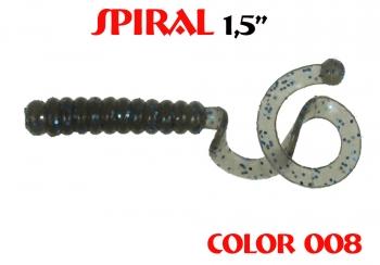 "силиконовая приманка Spiral 1.5""/25mm  цвет 008-N.Brown  запах Fish  0.62g  (уп.-10шт.)"