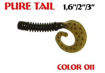 "силиконовая приманка Pure tail 1.6""/40mm  цвет 011-Swamp  запах Fish  0.57g  (уп.-12шт.)"