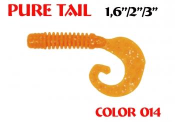 """силиконовая приманка Pure tail 3""""/75mm  цвет 014-Crazy Orange  запах Fish  3.71g  (уп.-8шт.)"""