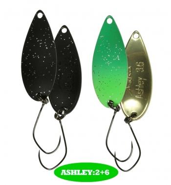 микроколебло  Ashley  3.6гр.  цвет  2+6  с безбородым крючком  (уп. 2шт.)