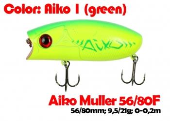 воблер MULLER  80F   AIKO гр.reen-цвет  80 мм.  21 гр.  заглубление 0-0.1m  плавающий