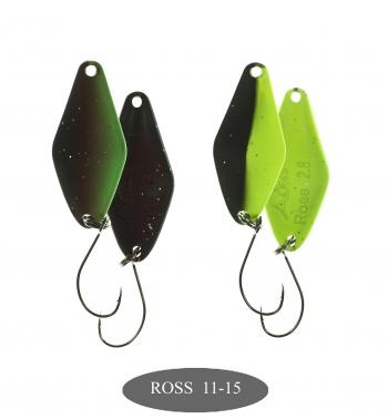микроколебло  Ross  2.8g  цвет 11+15  с безбородым крючком  (уп. 2шт.)