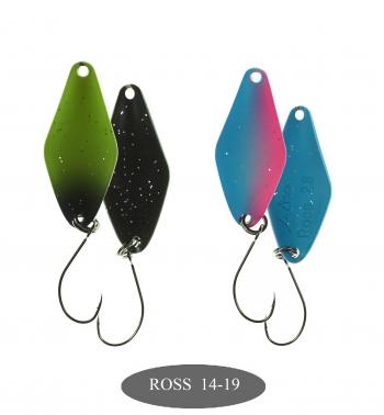 микроколебло  Ross  2.8g  цвет 14+19  с безбородым крючком  (уп. 2шт.)