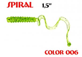 "силиконовая приманка Spiral 1.5""/25mm  цвет 006-Lime  запах Fish  0.62g  (уп.-10шт.)"
