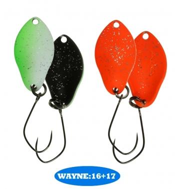 микроколебло  Wayne  2.3g  цвет 16+17  с безбородым крючком  (уп. 2шт.)