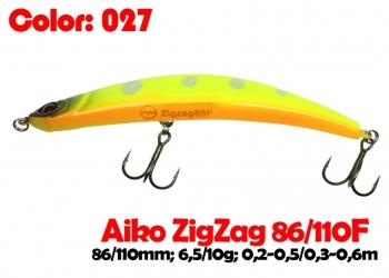 воблер ZIGZAG  86F   027-цвет  86mm  6.5g  заглубление 0.2-0.5m  плавающий
