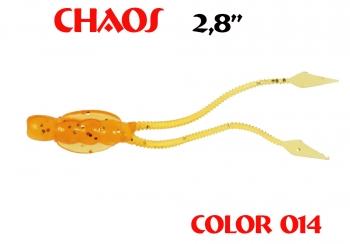 """силиконовая приманка Chaos 2.8""""/70mm  цвет 014-Crazy Orange  запах Fish  (уп.-8шт.)"""