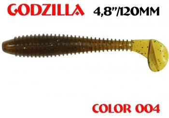 """силиконовая приманка Godzilla 4.8""""/120mm  цвет 004-Champagne  запах Fish  (уп.-5шт.)"""