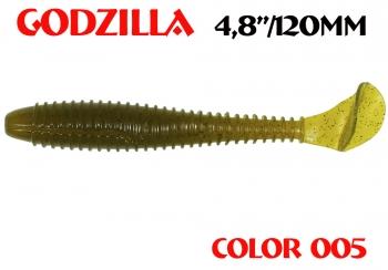 "силиконовая приманка Godzilla 4.8""/120mm  цвет 005-N.Olive  запах Fish  (уп.-5шт.)"