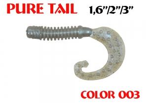 "силиконовая приманка Pure tail 1.6""/40mm  цвет 003-N.Gray  запах Fish  0.57g  (уп.-12шт.)"