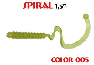 "силиконовая приманка Spiral 1.5""/25mm  цвет 005-N.Olive  запах Fish  0.62g  (уп.-10шт.)"