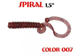 """силиконовая приманка Spiral 1.5""""/25mm  цвет 007-Grape  запах Fish  0.62g  (уп.-10шт.)"""