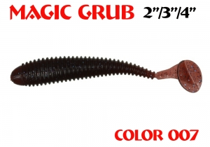 "силиконовая приманка Magic Grub 3""/75mm  цвет 007-Grape  запах Fish  1.80g  (уп.-8шт)"