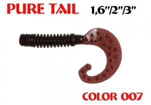 "силиконовая приманка Pure tail 1.6""/40mm  цвет 007-Grape  запах Fish  0.57g  (уп.-12шт.)"