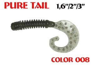 """силиконовая приманка Pure tail 1.6""""/40mm  цвет 008-N.Braun  запах Fish  0.57g  (уп.-12шт.)"""