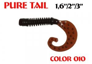 "силиконовая приманка Pure tail 1.6""/40mm  цвет 010-Cola  запах Fish  0.57g  (уп.-12шт.)"