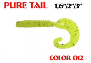 """силиконовая приманка Pure tail 1.6""""/40mm  цвет 012-Acid  запах Fish  0.57g  (уп.-12шт.)"""
