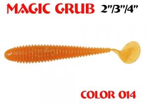 """силиконовая приманка Magic Grub 4""""/100mm  цвет 014-Crazy Orange  запах Fish  4.55g  (уп.-6шт)"""
