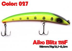 воблер BLITZ 118F   027-цвет  118mm  11g  заглубление 0.1-0.5m  плавающий
