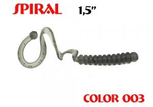 """силиконовая приманка Spiral 1.5""""/25mm  цвет 003-N.Gray  запах Fish  0.62g  (уп.-10шт.)"""