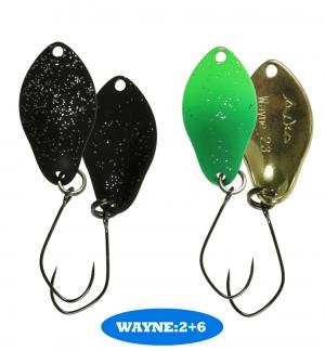 микроколебло  Wayne  1.9g  цвет  2+6  с безбородым крючком  (уп. 2шт.)