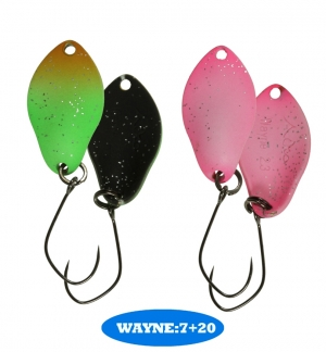 микроколебло  Wayne  2.3g  цвет  7+20  с безбородым крючком  (уп. 2шт.)