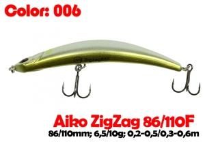 воблер ZIGZAG  86F   006-цвет  86mm  6.5g  заглубление 0.2-0.5m  плавающий