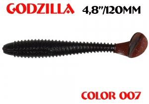 "силиконовая приманка Godzilla 4.8""/120mm  цвет 007-Grape  запах Fish  (уп.-5шт.)"