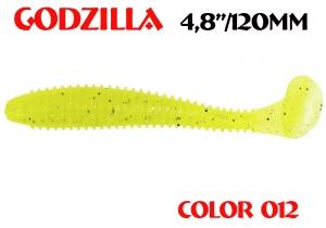 """силиконовая приманка Godzilla 4.8""""/120mm  цвет 012-Acid  запах Fish  (уп.-5шт.)"""