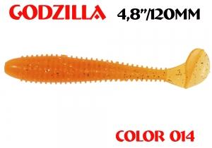 """силиконовая приманка Godzilla 4.8""""/120mm  цвет 014-Crazy Orange  запах Fish  (уп.-5шт.)"""
