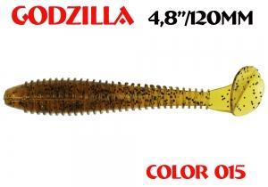 "силиконовая приманка Godzilla 4.8""/120mm  цвет 015-Motor Oil  запах Fish  (уп.-5шт.)"